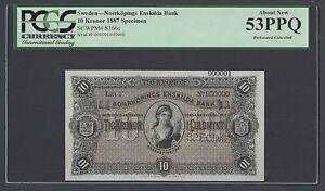 Sweden Norrkopings Enskilda Bank 10 kronor 1887 PS366s Litt F Specimen AUNC