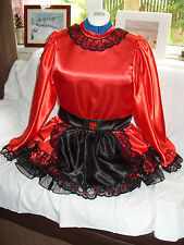 SISSY~MAIDS~ADULT BABY~UNISEX~CD/TV~FETISH RED SATIN, BLACK ORGANZA DRESS & APRO