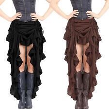 Womens Halloween Cosplay Pirate Dress Victorian Steampunk Lace Skirts Costume