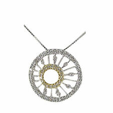 Circle Necklace Gold Circle Necklace Diamond Necklace 14k Two Tone Gold