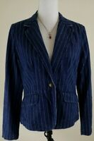 LRL LAUREN JEANS CO.~Women's Size 10P Petite~Blue Striped Blazer Jacket Casual.