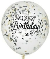6 x Happy Birthday Confetti Latex Balloons Black Silver Gold Party Decoration
