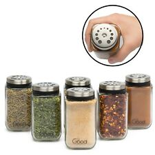 Adjustable Glass Spice Jars Seasoning Shaker Rub Container Tins Durable Set of 6
