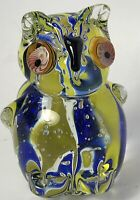Vintage Murano Large Italian Multi Color Art Glass Owl Paperweight Sculpture