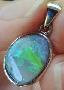 Solid Australian Opal Pendant Lightning Ridge Dark Opal Sterling Silver Jewelry