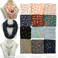 Women Scarves Scarf Fox/ Star Print Lightweight Stole Shawl Neckerchief
