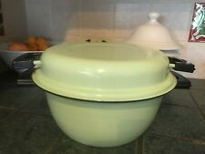 "Aubecq Depose Pan Green Enamel Metal 3 piece pot lid strainer basket 11"" @ top"