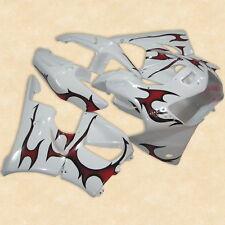 Flames White ABS Plastic Fairing Bodywork Kit For Honda CBR900RR 919 98-99 19B