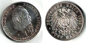 GERMAN STATES - BAVARIA  1911-D  5 MARK SILVER COIN, UNCIRCULATED