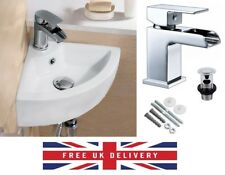 COMPACT SMALL CLOAKROOM CORNER BASIN SINK WALL HUNG + FREE WATERFALL TAP & WASTE