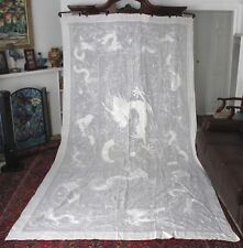 19thC Chinese Embroidered Dragons Chase Pearl White Linen Huge Tablecloth Bedspr