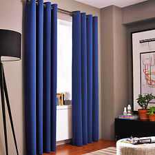 2 PANEL ROYAL BLUE FOAM LINED BLACKOUT GROMMET WINDOW CURTAIN K32 108""