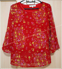 Red Flowery Chiffon Blouse