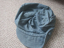 BERET TYPE HAT AGE 8-10 BLUE MIX COTTON LINED NEW WITH TAG BUTTON HEIGHT 140CMS