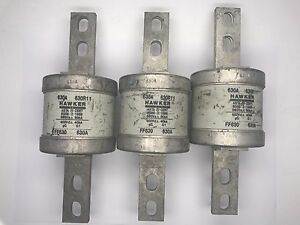 3 x Hawker 630R11 FF630 HRC Fuse Link 630Amp BS88 80kA 660vAC 400vDC 40kA gG