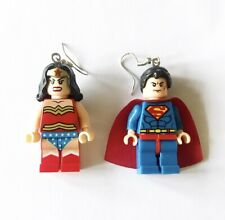 Wonder Woman & Superman Lego Minifigure Earrings With Sterling Silver Ear Hooks