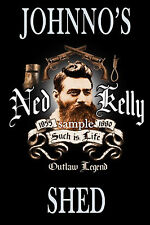 Ned Kelly Personalised A4 Bar / Shed  Sign - Any Name - Great Gift Idea