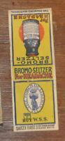 1917 W.S.S. WWI War Bond DiamondSafetyFirst Advertising Matchbook Bromo Seltzer