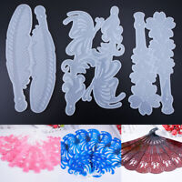 1pc Silicone Epoxy Resin Mold DIY Fan Bookmark Mould Making Scrapbooking Craft