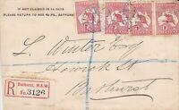 APH1511) Australia 1913 1d Red die II 1st watermark Kangaroos x 4
