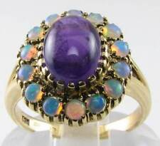 CLASSIC 9K 9CT GOLD CAB AMETHYST &  FIERY OPAL ART DECO INS RING FREE SIZE