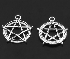 Ancient silver Wiccan Pagan Gothic Pentacle Jewelry Findings,charms Pendants 10x