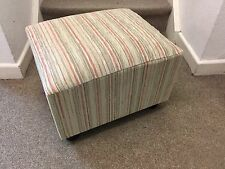 Footstool / Pouffe / Small Stool /beige stripe Chenille British Made