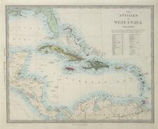 WEST INDIES Antilles Caribbean French British Swedish Danish Dutch SDUK 1857 map