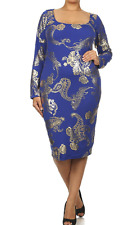 Sexy Diva 2X L/S Scoop Neck Bodycon Dress with Textured Gold Paisley Print