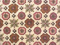 1.75 Yds Pink Brown Black Heavy Cotton Fabric Material Vintage