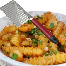 1Pc Stainless Steel Potato Chip Vegetable Fruit Crinkle Cutter Slicer Wavy Knife