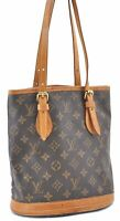 Authentic Louis Vuitton Monogram Bucket PM Shoulder Bag M42238 LV B0133