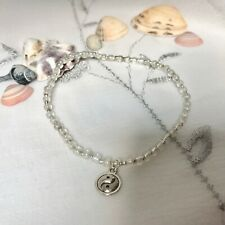 New Yin Yang Charm Anklet ~ White ~ Stretch ~ Feng Shui, Ankle Chain ~ Peace