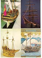 """4 AK Segelschiffe: 1x """"Gorch Fock"""", in Museen: Wapen von Hamburg, Goldschiff"""
