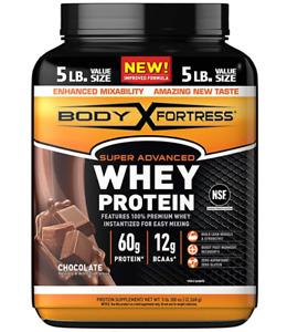 Body Fortress Super Advanced Whey Protein Powder, Gluten Free, 5 Lbs, Chocolate,