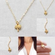 Gold Palm Tree Necklace Pendant Stainless Steel Chain Necklace For Women