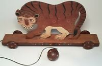 Vintage 1992 Hand Made/Painted Wooden Tiger Pull String Toy Craft Nursery Circus