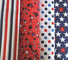 Red, White, and Blue Stars, Stripes and Dots, 4 half yd cuts, 100% cotton fabric