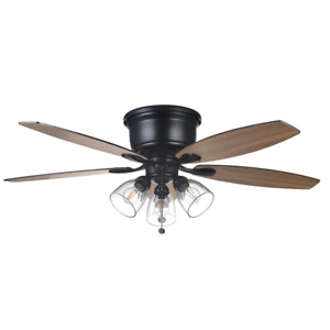 Hampton Bay Ceiling Fan Light Kit Clear Glass Hugger Powerful Matte Black 52 in.