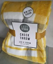 Ochre Yellow, Grey & White Check Plush Throw/Blanket.  125 x 150cm.