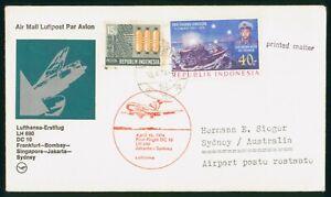 MayfairStamps Indonesia 1974 Jakarta to Sydney Australia LH 690 Aviation Lufthan