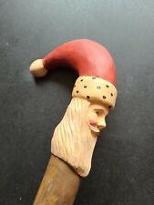 Hand Carved Folk Art Santa Claus Head Cane Walking Hiking Stick Staff 3 Feet
