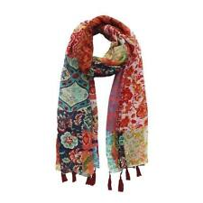 Women Vintage Pink Printed Soft Cotton Floral Oblong Neck Scarf Vivi Shawl