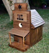 Western Style Americana Birdhouse By Old Dakota. Jail. Walnut Wood 4