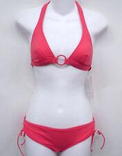 CK CALVIN KLEIN Orange Halter Bikini Swimsuit XS Cup B NEW