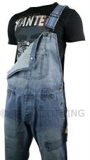 Mens Dungarees Jeans Light Blue Stone Wash Turn Up Jeans