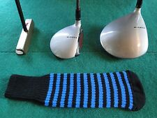 Knitted zebra style Fairway & Driver Golf Club head cover Black / Blue