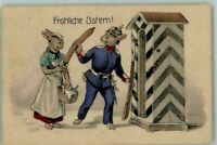 Unusual~Dressed Bunny Rabbits w. Sausage~Guard House Easter Postcard-German--s70