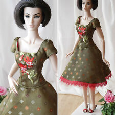 """Luxury embroidered silk dress, outfit for 16"""" Doll, FR16, Sybarite, OOAK"""
