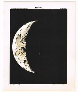 ANTIQUE PRINT VINTAGE 1910 ASTRONOMY STAR MAP CHART MOON 5TH DAY MATTE BLACK B9